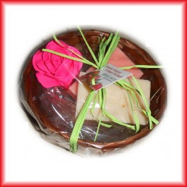 confezione 2  saponi in cestino colori naturali
